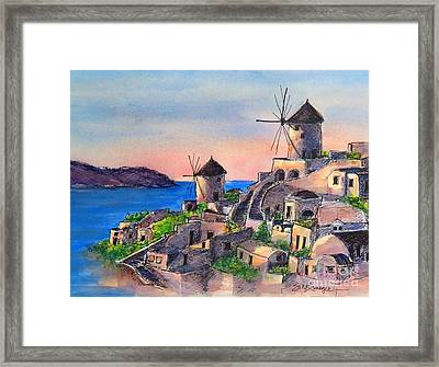 Santorini Windmills Framed Print