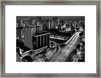 Sao Paulo, Brazil - Central Expressways By Night Framed Print by Carlos Alkmin