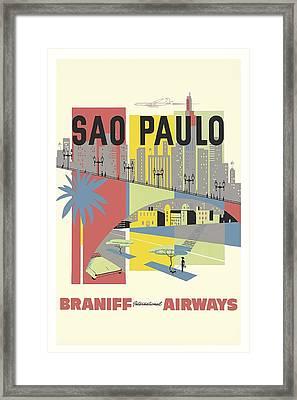 Sao Paulo Brazil Vintage Travel Poster Framed Print by Retro Graphics
