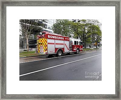 Fire Engine In Sao Paulo - Brazil Framed Print