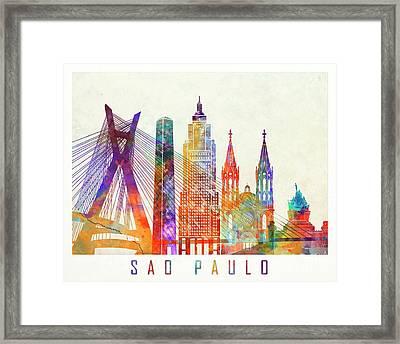 Sao Paulo Landmarks Watercolor Poster Framed Print by Pablo Romero