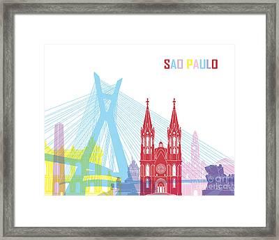 Sao Paulo Skyline Pop Framed Print by Pablo Romero