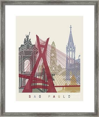 Sao Paulo Skyline Poster Framed Print by Pablo Romero