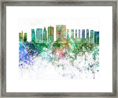 Sao Paulo V2 Skyline In Watercolor Background Framed Print by Pablo Romero
