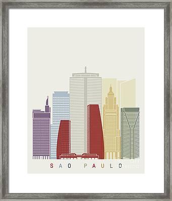 Sao Paulo V2 Skyline Poster  Framed Print