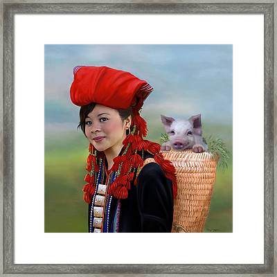 Sapa Girl And Her Pig Framed Print by Thanh Thuy Nguyen