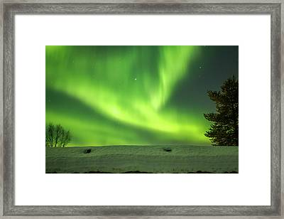 Sapmi Hut Rooftop Under The Northern Lights Karasjok Norway Framed Print