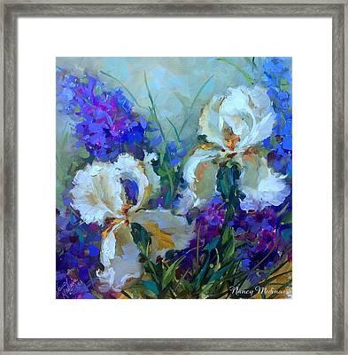 Sapphhire Lace White Irises Framed Print