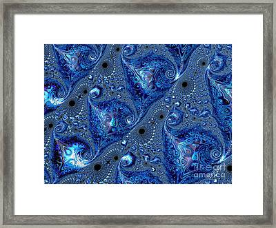 Sapphire Ocean Waves And Shells Fractal Abstract Framed Print