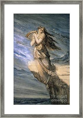 Sappho Leaping Into The Sea From The Leucadian  Framed Print by MotionAge Designs