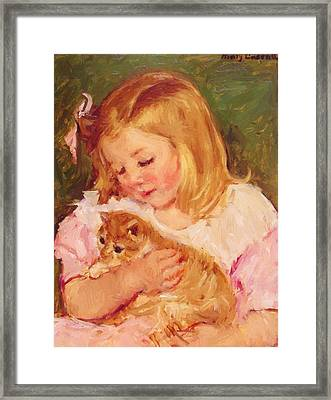 Sara Holding A Cat Framed Print
