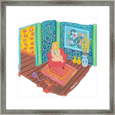 Sara Sipping Tea Framed Print