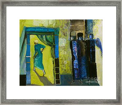 Sarah And The Three Angels Framed Print by Richard Mcbee
