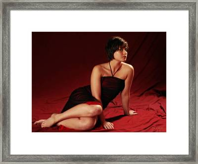 Sarah In Red Framed Print by Artographs Fine Art
