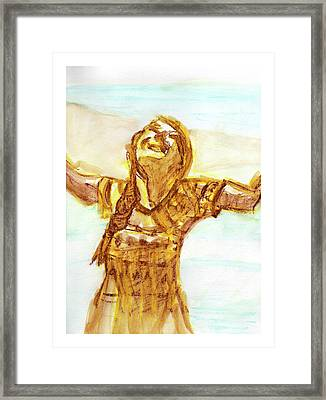 Sarah On The Beach Framed Print