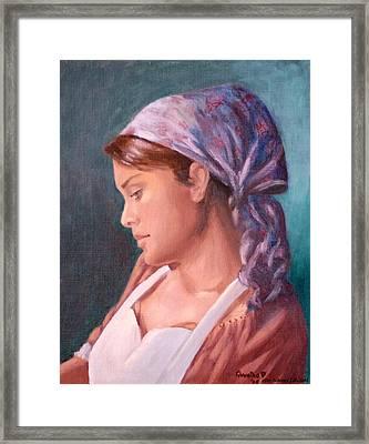Sarah The Kitchen Maid  After Johnnie Liliedahl Framed Print by Quwatha Valentine