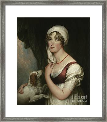 Sarah Trumbull With A Spaniel Framed Print by John Trumbull