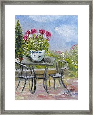 Sara's Patio Framed Print