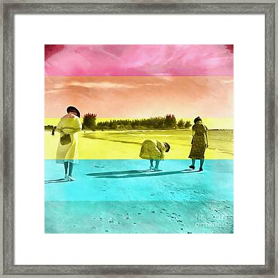 Framed Print featuring the painting Sarasota Series Beachcombers by Edward Fielding
