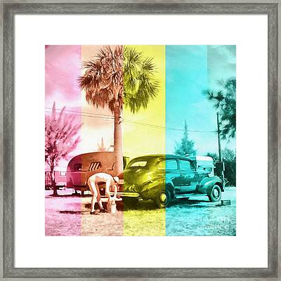 Framed Print featuring the painting Sarasota Series Wash The Car by Edward Fielding