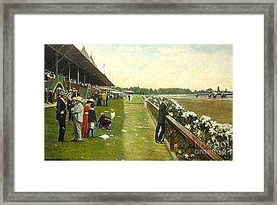 Saratoga Racetrack And Grandstand In 1905 Framed Print