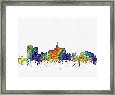 Saskatoon Saskatchewan Skyline Color03 Framed Print by Aged Pixel