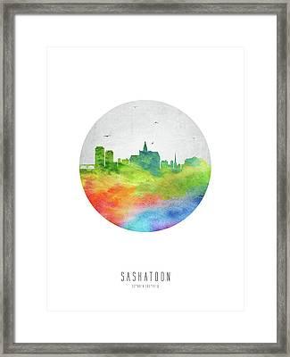 Saskatoon Skyline Casksa20 Framed Print by Aged Pixel