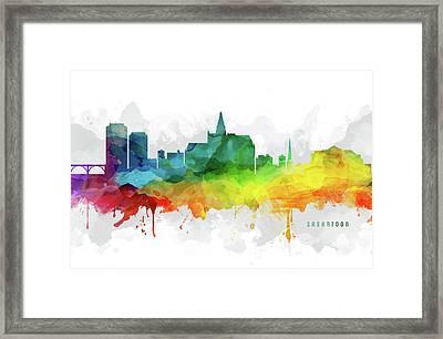 Saskatoon Skyline Mmr-casksa05 Framed Print by Aged Pixel