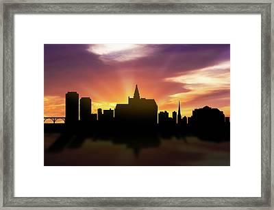 Saskatoon Skyline Sunset Casksa22 Framed Print by Aged Pixel