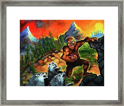 Sasquatch Chased By Wolves Framed Print by Chris Bahn