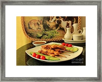 Satay Chicken Framed Print by Katy Mei