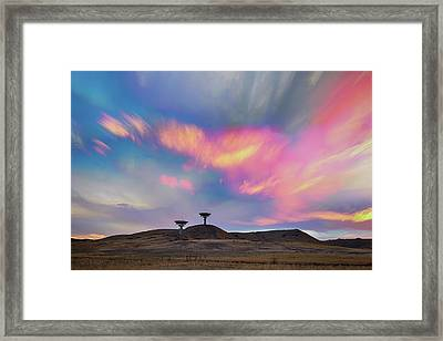 Framed Print featuring the photograph Satellite Dishes Quiet Communications To The Skies by James BO Insogna