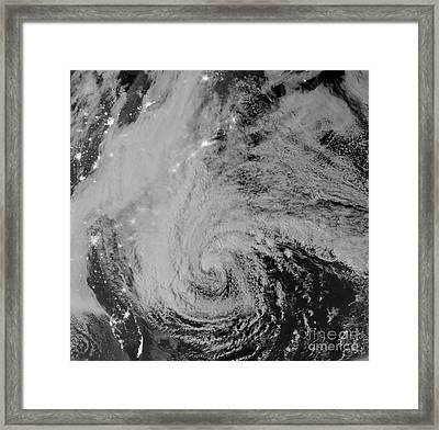 Satellite View Of Hurricane Sandy Framed Print