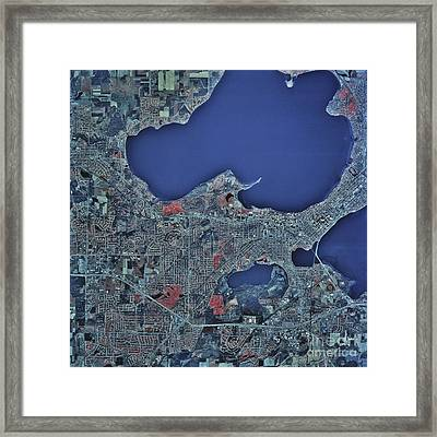 Satellite View Of Madison, Wisconsin Framed Print by Stocktrek Images