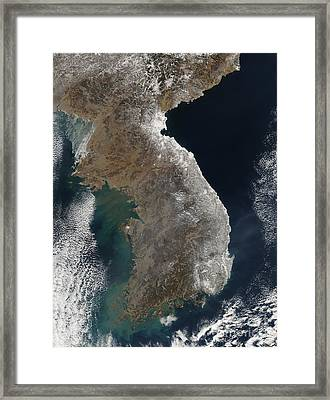 Satellite View Of Snowfall Along South Framed Print by Stocktrek Images