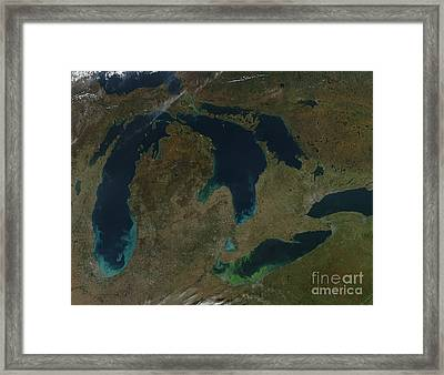 Satellite View Of The Great Lakes, Usa Framed Print by Stocktrek Images