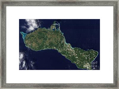 Satellite View Of The Island Of Guam Framed Print
