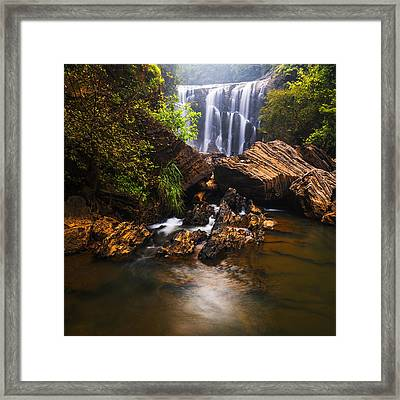 Sathodi Falls In Western Ghats In India Framed Print by Vishwanath Bhat