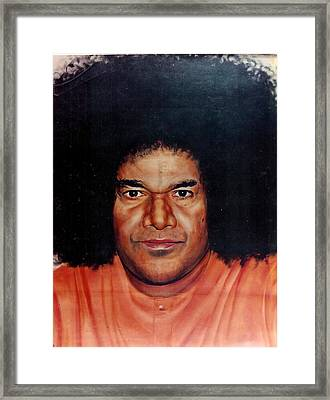 Sathya Sai Baba- Full Face Framed Print by Anne Provost