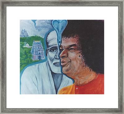 Sathya Sai Baba- Shirdi Sai Baba Framed Print by Anne Provost