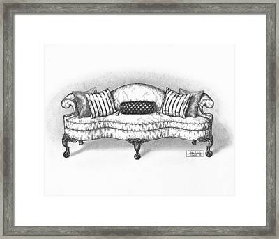 Satin Chippendale English Sofa Framed Print by Adam Zebediah Joseph