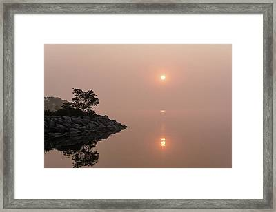 Satiny Pinks And Rough Grays - Soft Fog Sunrise On The Lake Framed Print