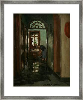 Saturday  An Interior View Of Garstin's Home  Framed Print by Norman Garstin