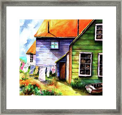 Framed Print featuring the painting Saturday At The Beach by Marti Green