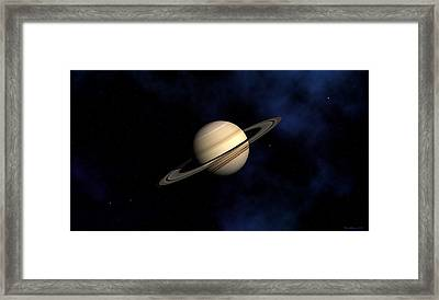Framed Print featuring the digital art Saturn by David Robinson