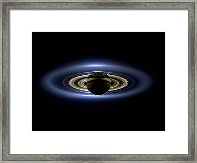 Saturn Mosaic With Earth 4x3 Framed Print by Adam Romanowicz