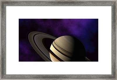 Framed Print featuring the digital art Saturn Rings Close-up by David Robinson