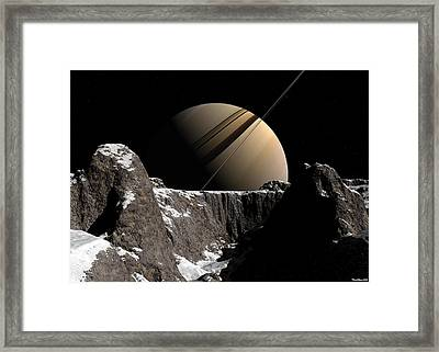 Framed Print featuring the digital art Saturn Rise by David Robinson