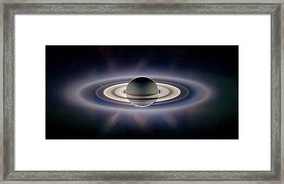 Saturn Silhouetted, Cassini Image Framed Print by Nasajplspace Science Institute