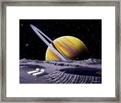 Saturn Spa Framed Print by Snake Jagger